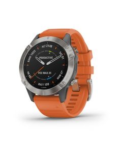 Fenix 6 Sapphire Ti Gray w/Orange Band Chile en Garmin