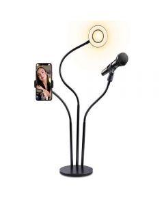 Soporte 3en1 Selfie Aro LED Importadora Usa - Blanco