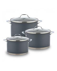 Batería De Cocina Grey Wens Acero 690 6 Piezas