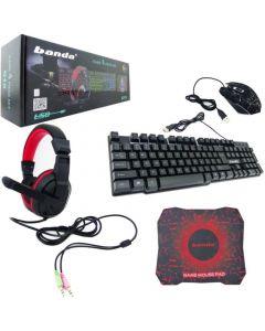 Kit Gamer Banda 4 in 1 G10 Teclado+Mouse+Audifonos+Pad Mouse