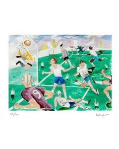 Obra de Arte Técnica Litografía Andrés Gana Fútbol