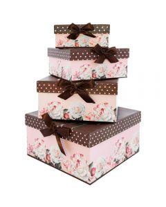 Set 4 Cajas Organizadora Rosas Importadora Usa H5147N Rosado