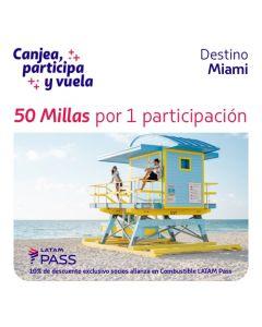 1 Ticket de participacion en sorteo de dos pasajes a Miami