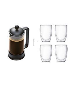 Cafetera Francesa Bodum Vidrio 1Lt + 4 Vasos Vidrio  350cc