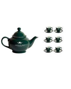 Tetera Ahmad Tea  + Juego De 6 Tazas Y 6 Platillos verde