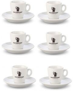 Juego de 6 Tazas y 6 Platos Hausbrandt Espresso 70ml