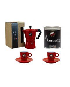 Cafetera Moka Vergnano Roja con 2 Tazas + Café Moka Alumin
