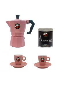 Cafetera Moka Vergnano Rosada con 2 Tazas + Café Moka Alumin
