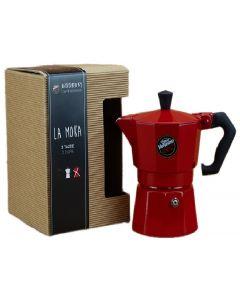 Cafetera Moka Vergnano Premium Aluminio Roja 3 Tazas
