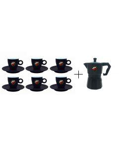 Cafetera Moka Vergnano Negra + 6 Tazas Espresso 3 Tazas